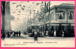 Jamaïque Harbour Street - Kingston - Coronation Day - Tramway - Animée - Publish. By SOLLAS & COCKING - Photo GRANT & Co - Jamaïque