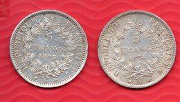 Lot De 2 Pièces En Argent De 5 Francs HERCULE 1873 Et 1874 - Total De 50.15 Grammes -  Tranche DIEU PROTEGE LA FRANCE - France