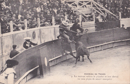 CPA - Corrida De Toros - Le Taureau Enlève Le Picador Et Son Cheval - 1907 - Corrida