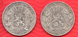 Lot De 2 Pièces En Argent De 5 Francs LEOPOLD II 1870 Et 1874 - Total De 49.85 Gr -  Tranche DIEU PROTEGE LA BELGIQUE - 1865-1909: Leopold II