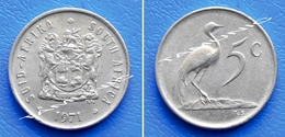SOUTH AFRICA SUID AFRIKA 5 Cents 1971 BLUE CRANE - South Africa
