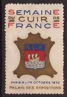 VIGNETTE Semaine Du Cuir De France Paris 9 Au 14 Octobre 1930 Palais Des Congrès - Erinnophilie