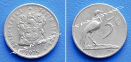 SOUTH AFRICA SUID AFRIKA 5 Cents 1975 BLUE CRANE - South Africa