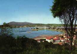 CPSM  Grand Format HENDAYE  PLAGE  La Baie De Chingoudy Au Fond L'Espagne  Colorisée RV - Hendaye