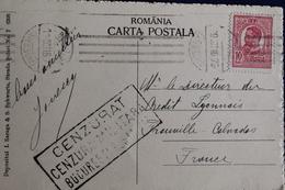 1916       CARTE  POSTALE  POUR  TROUVILLE  EN  FRANCE   AVEC  CACHET  DE  CENSURE  MILITAIRE ROUMAIN     2  PHOTOS - Poststempel (Marcophilie)