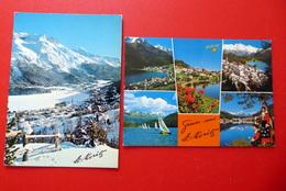 2 AK St. Moritz - Panorama - Schweiz - Winter - Wintersport - Skifahren - Kirchen U. Kathedralen