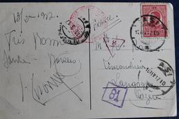 1917       CARTE  POSTALE  POUR  LANGOGNE  EN  FRANCE   AVEC  CACHET  DE  CENSURE  MILITAIRE ROUMAIN     2  PHOTOS - Poststempel (Marcophilie)