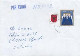 GOOD LATVIA Postal Cover To ESTONIA 2002 - Good Stamped: Christmas ; Coat Of Arms - Latvia