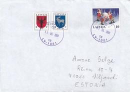 GOOD LATVIA Postal Cover To ESTONIA 2001 - Good Stamped: Christmas ; Coat Of Arms - Latvia