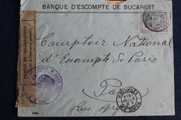 1915       LETTRE DE  ROUMANIE  POUR  PARIS     AVEC  CACHET  MILITAIRE  DE  CONTROLE  POSTAL  DE  DIEPPE    2  PHOTOS - Poststempel (Briefe)