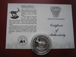 Bahrain 1986 5 Dinars Silver Proof Coin WWF With COA Card - Rhim Gazelle - Bahreïn