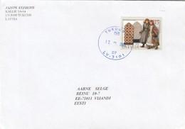 GOOD LATVIA Postal Cover To ESTONIA 2002 - Good Stamped: National Handicraft - Latvia