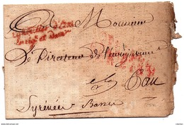 """PARIS : PYRENEES ATLANTIQUES : PAU - 1er EMPIRE - Marque De Franchise """" Le CONSEIL D' ETAT Enreg . Et Dom. """" (1814 ) - 1801-1848: Précurseurs XIX"""