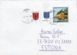 GOOD LATVIA Postal Cover To ESTONIA 2007 - Good Stamped: Landscape ; Coat Of Arms - Latvia
