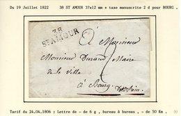 Jura : SAINT AMOUR  38   ST AMOUR 37 X 12  Mm + Taxe Manuscrite 2 D Sur LAC En 1822 - Postmark Collection (Covers)
