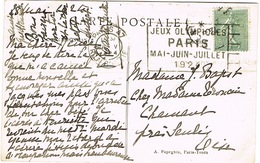 O.MEC FLIER PARIS 47 JEUX OLYMPIQUES 1924 SUR CPA - Marcophilie (Lettres)