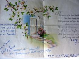 """Biglietto Auguri Americano """"ON OUR ANNIVERSARY"""" Ann '50 - Cartoncini Da Visita"""