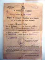 """Documento Militare """"R. ESERCITO ITALIANO FOGLIO DI CONGEDO ILLIMITATO Distretto Militare Di Lucca"""" Marzo 1939 - Manoscritti"""