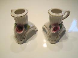 2 Bougeoirs à Main Porcelaine ? Poids : 112 Grammes - Art Populaire