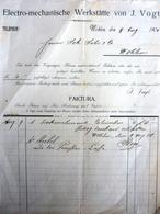 """Fattura Pubblicitaria """"ELECTRO - MECANISCHE WERKSTATTE  VON J. VOGT Wohlen 1906"""" - Elettricità & Gas"""