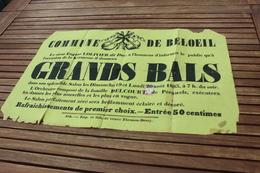 BELOEIL GRANDS BALS Le Sieur Eugene LOLIVIER Dit DUC  Dimanche 19 Lundi 20 Aout 1883 Kermesse  35cm/54cm - Affiches