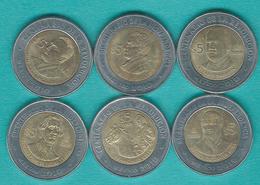 Mexico - Bicentenary Of Independence 5 Pesos - 2008 - Set X 13 (KMs 894-906) - Rayón, Obregón, Bustamante, Vasconcelos, - Mexique