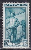 Repubblica Italiana, 1950 - 12 Lire Italia Al  Lavoro, Fil. R3 - Pos. DB - Nr.123 MLH* - 6. 1946-.. Repubblica
