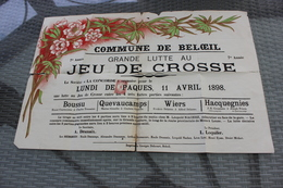 BELOEIL  GRANDE LUTTE AU JEU DE CROSSE Lundi De Paques 11 Avril 1898 Boussu Quevaucamps Wiers Hacquegnies   36cm/54cm - Affiches
