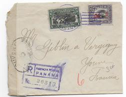 PANAMA - 1917 - LETTRE RECOMMANDEE Avec CENSURE => VERGIGNY (YONNE) - - Panama