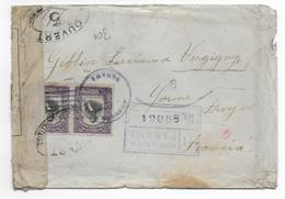 PANAMA - 1918 - LETTRE RECOMMANDEE Avec CENSURE => VERGIGNY (YONNE) - - Panama