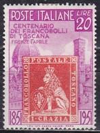 Repubblica Italiana, 1951 - 20 Lire Francobolli Di Toscana - Fil. R1 - Pos. SA - Nr.144 MLH* - 6. 1946-.. Repubblica