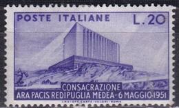 Repubblica Italiana, 1951 - 20 Lire Ara Pacis - Fil. R1 - Pos. ND - Nr.147 MLH* - 6. 1946-.. Repubblica
