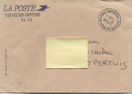 POSTE-BOUTIQUE CARPENTRAS (Vaucluse)  Timbre à Date Type A 9 Sur Enveloppe: Franchise De La Poste - Marcophilie (Lettres)