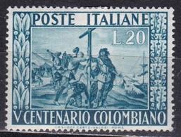 Repubblica Italiana, 1951 - 20 Lire Cristoforo Colombo - Fil. R1 - Pos. ND - Nr.151 MLH* - 6. 1946-.. Repubblica