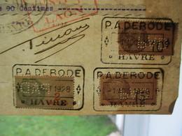 TIMBRES FISCAUX 10c (2),15c (2),2 ET 5 FRANCS PERFORES P A D SUR TRAITES DU 1er AOUT 1928 FACTURES DU 30 JUILLET - Francia