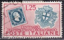 Repubblica Italiana, 1951 - 25 Lire Francobolli Sardi - Fil. R1 - Pos. ND - Nr.164 Usato° - 6. 1946-.. Repubblica