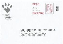 "POSTREPONSE PRIO "" LES CHIENS GUIDES D'AVEUGLES DE L'OUEST "" Neuf (Marianne TVP Ciappa - Lot 169963) - Entiers Postaux"