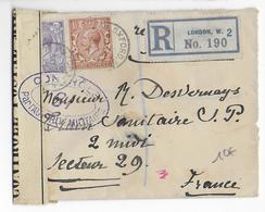 GB - 1916 - LETTRE RECO De LONDON Avec CENSURE N°19 => TRAIN SANITAIRE SECTEUR POSTAL 29 - Marcophilie (Lettres)