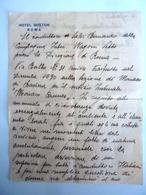 """Lettera Manoscritta Su Carta Intestata """"HOTEL BOSTON ROMA  CONDUTTORE COMPAGNIA  FERROVIARIA INTERNAZIONALE WAGON LITS"""" - Manoscritti"""