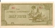 JAPANESE GOVERNMENT 1/2 RUPEE  1942 VF+ P 13 B - Myanmar