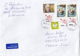 GOOD LITHUANIA Postal Cover To ESTONIA 2018 - Good Stamped: Knight ; Christmas ; Juska - Lituania