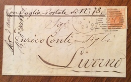 """SIENA 6/12/79 Annullo A Cannocchiale  LETTERA Autografa COMPLETA Di GAETANO BANDINI    """" Con Vaglia Postale Di L. 73 """" - 1861-78 Vittorio Emanuele II"""