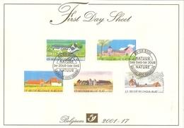 """BELG.2001 3017-21 FDS: """" Grandes Fermes Typiques/ Natuur - Grote Typische Boerderijen"""" - FDC"""