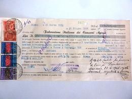 """Cambiale """"FEDERAZIONE ITALIANA CONSORZI AGRARI Siena 18 Marzo 1953""""  Con Marche Da Bollo - Cambiali"""