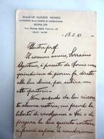 """Cartoncino Manoscritto """"Grand. Uff. NUNZIO ROMEO Avvocato Corte Di Cassazione"""" Anni '30 - Manoscritti"""