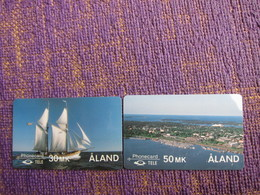 2FINC,D,Sailing Ship And Mariehamn,two Cards,mint - Aland