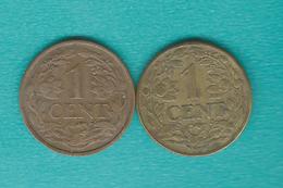 Suriname - Dutch - 1 Cent X 2 - 1943 (KM10) & 1960 (KM10a) - Surinam 1975 - ...
