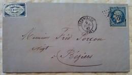 PLI COMMERCIAL GUEBWILLER 9 Juill 1867 PC 1726 Gerrer Marvillet Cie Sengern Vers Béziers Elsaß - 1849-1876: Période Classique