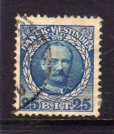 DANISH WEST INDIES DANSK-VESTINDISKE ANTILLE OLANDESI 1908 FREDERIK VIII KING RE 25b USATO USED OBLITERE' - Denmark (West Indies)