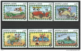Sierra Leone 1989 Mi 1332-1337  MNH CARS - DISNEY (B) - Disney